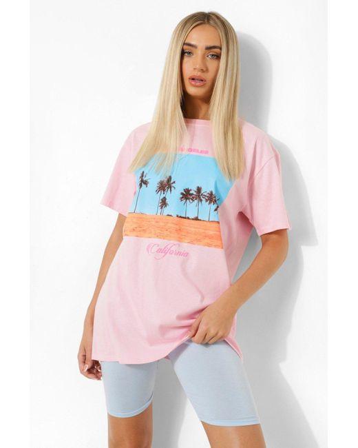 Camiseta Ancha De Palmera California Boohoo de color Pink
