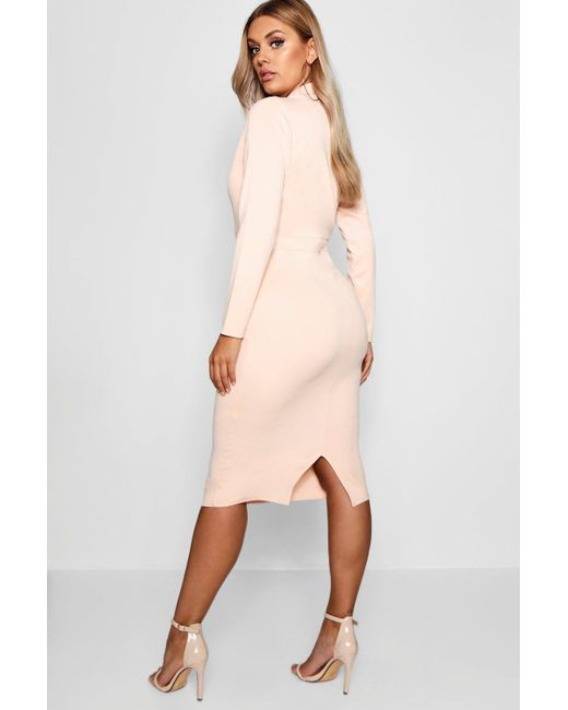 5d31c25b97d ... Boohoo - White Plus Plunge High Collar Midi Dress - Lyst