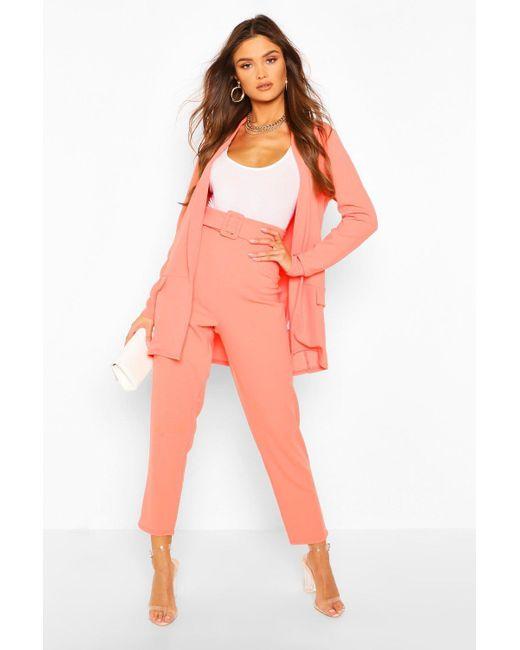 Boohoo Orange Tailored Blazer And Self Fabric Belt Pants Suit