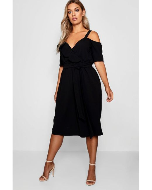 c46cd4a64be5 Boohoo - Black Plus Plunge Ruffle Belt Midi Dress - Lyst ...