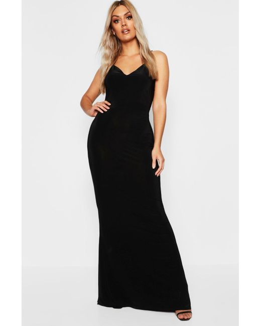8bc6efcba68f Boohoo - Black Plus Asymmetric Strap Plunge Maxi Dress - Lyst ...