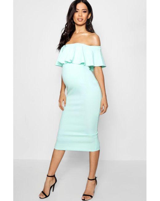 Boohoo - Multicolor Maternity Jenna Scallop Off Shoulder Midi Dress - Lyst  ...