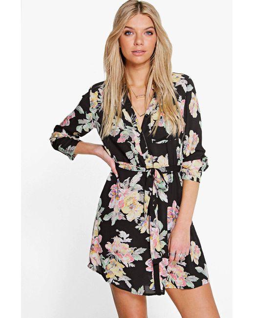 0e8913424da6 Boohoo - Black Floral Shirt Dress - Lyst ...