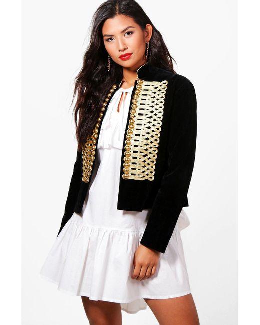 Boohoo | Black Amy Boutique Velvet Admiral Jacket | Lyst