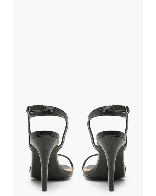 26292e35f57f ... Boohoo - Black Extra Wide Fit Croc 2 Part Heels - Lyst ...