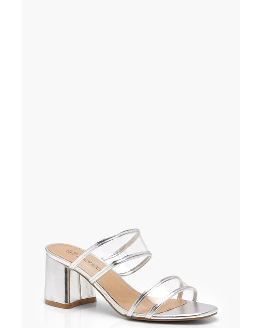 Boohoo - Metallic Wide Fit Double Clear Band Mules - Lyst