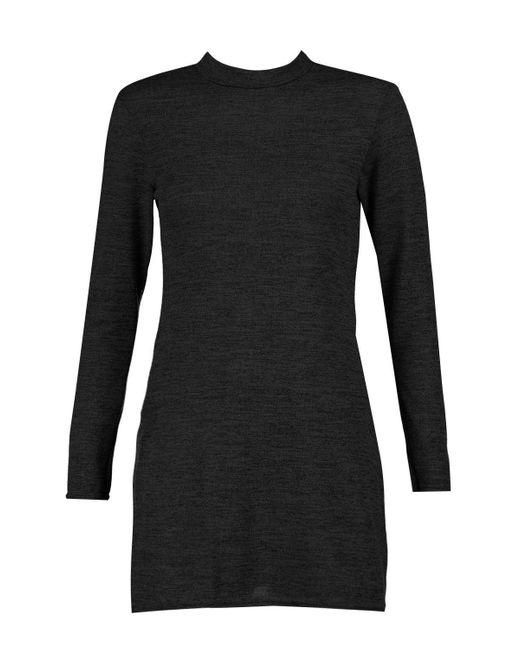Boohoo Black Petite Amy High Neck Soft Knit Side Split Tunic