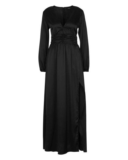 f2b22a5321459 ... Boohoo - Black Satin Long Sleeve Split Detail Maxi Dress - Lyst