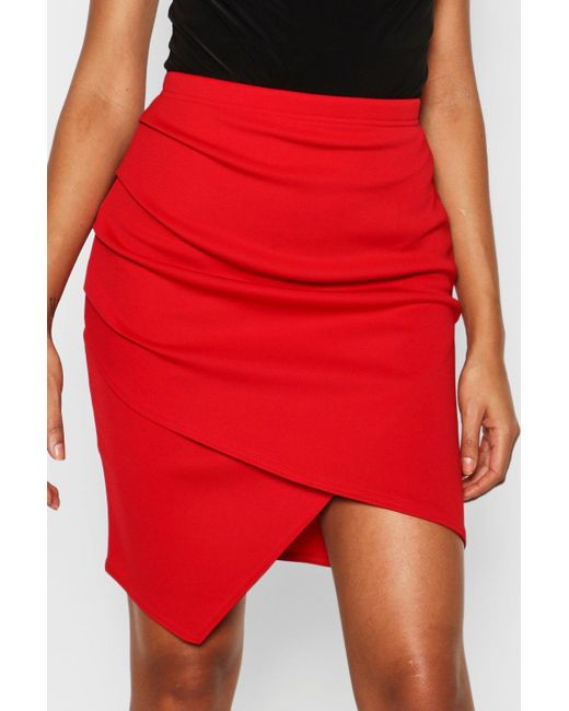 41fb51217 ... Boohoo - Black Tall Ruched Wrap Mini Skirt - Lyst