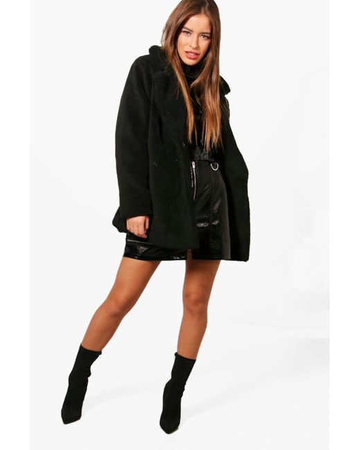 best cheap low cost timeless design Boohoo Womens Petite Double Breasted Teddy Coat in Black - Save 54 ...