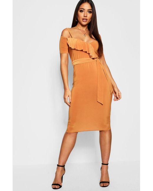 1c2928daeb4b Boohoo - Orange Wrap Ruffle Cold Shoulder Midi Dress - Lyst ...