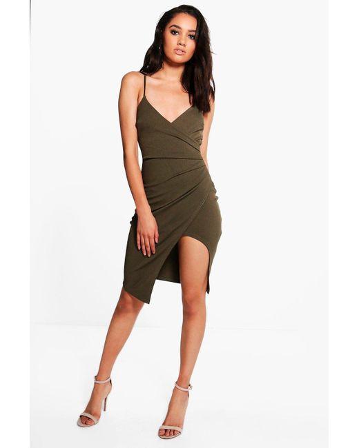 Boohoo | Green Petite Kara Strappy Wrap Asymmetric Dress | Lyst