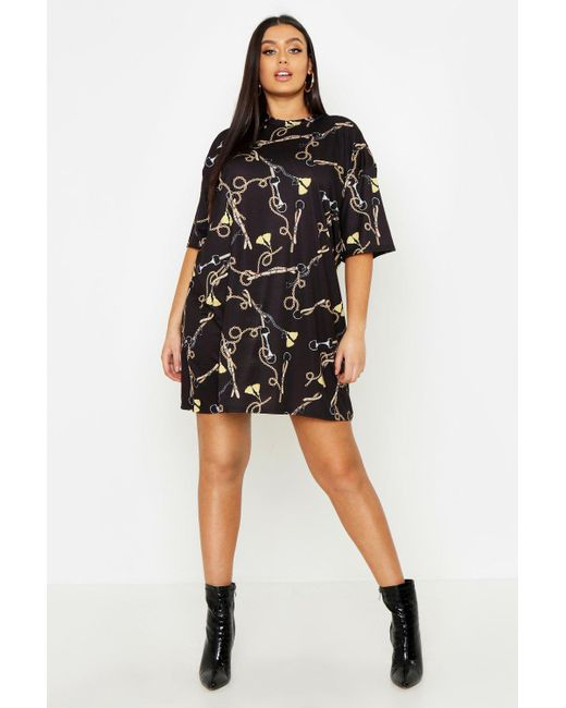 cfcb15282 Boohoo - Black Plus Chain Print T-shirt Dress - Lyst ...
