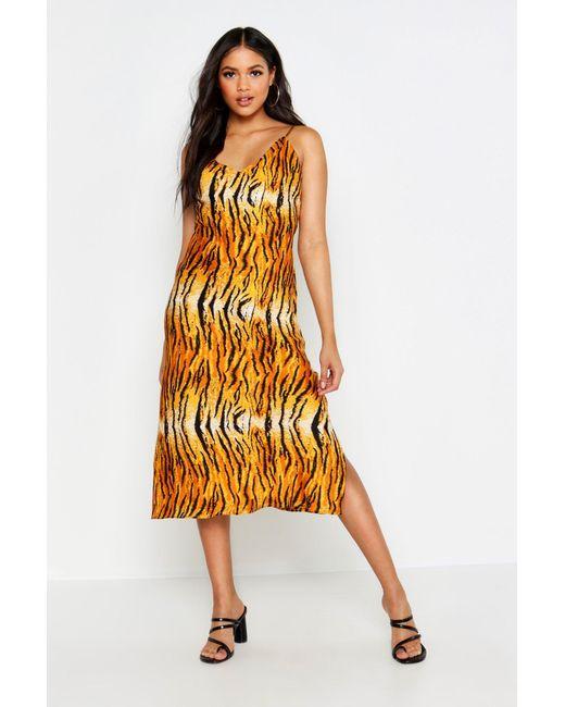 9c8d9b0fdfa1a Boohoo - Orange Tall Tiger Print Satin Slip Dress - Lyst ...