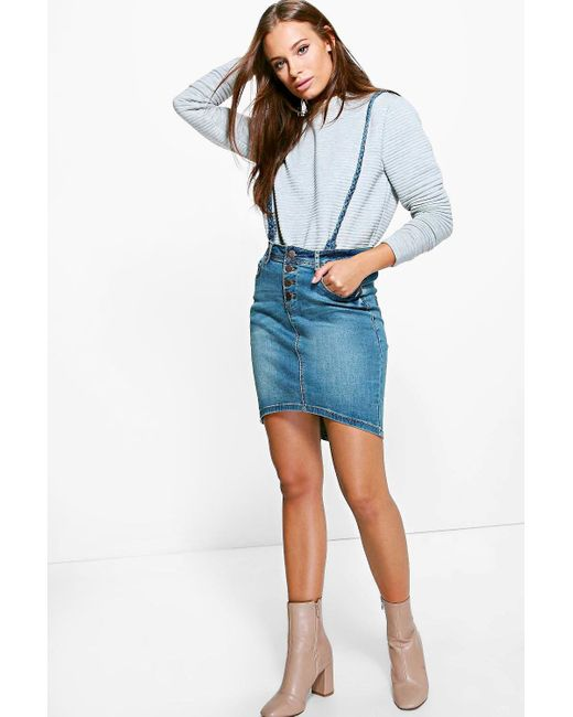 boohoo button front denim pencil skirt with braces