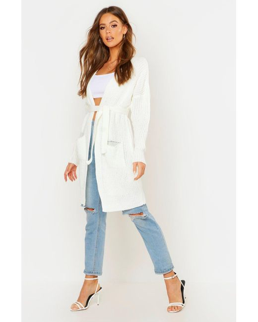 Boohoo Multicolor Belted Oversized Boyfriend Cardigan
