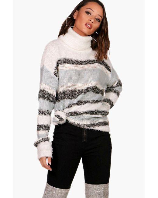 Boohoo - Blue Sarah Stripe Fluffy Knitted Jumper - Lyst