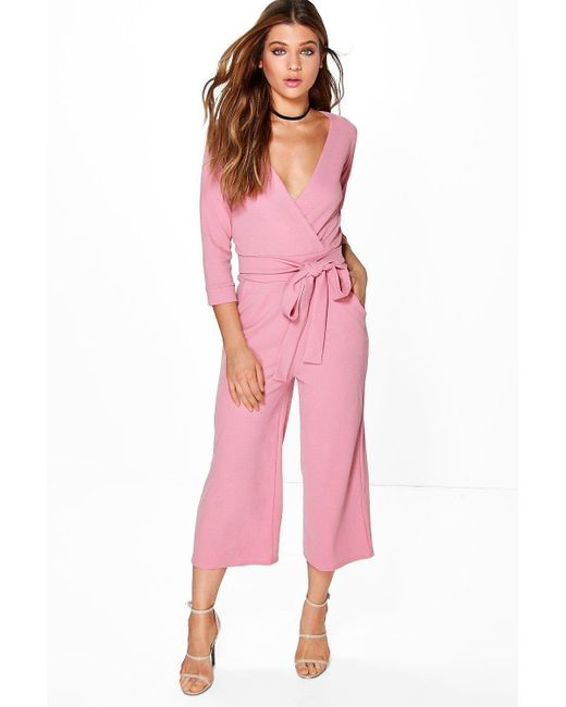 Boohoo Pink Womens Roll Sleeve Relaxed Culotte Jumpsuit