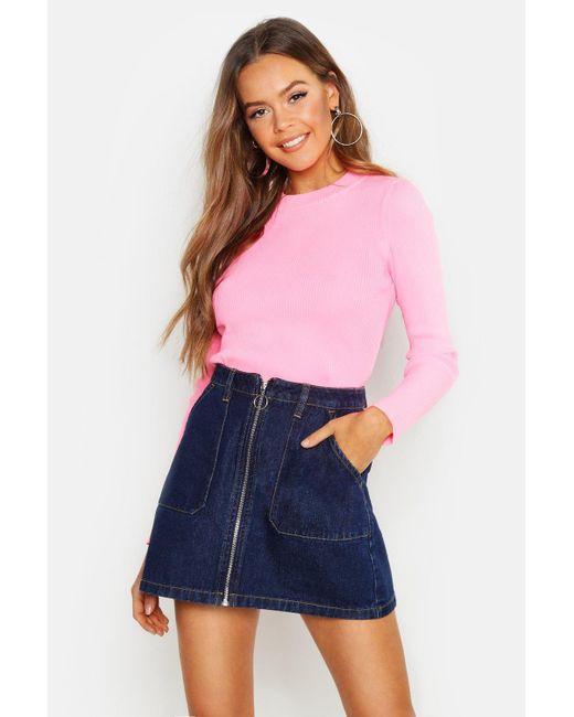 3b30509c5 Boohoo - Multicolor Zip Front Denim Mini Skirt - Lyst ...