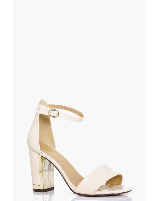 Boohoo | Multicolor Mia Wide Fit Gold Plated Block Two Part Heels | Lyst
