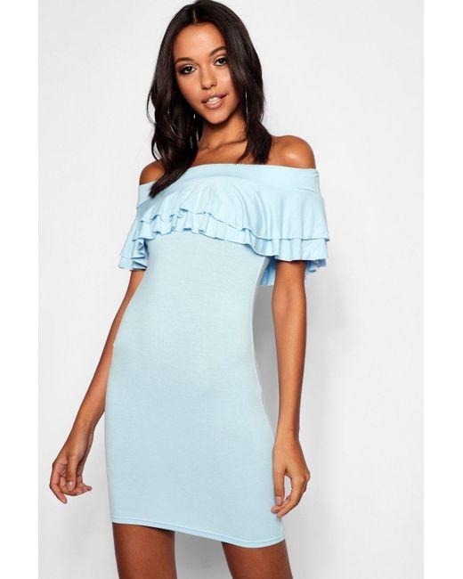 57ec80f0fc3c Boohoo - Blue Tall Off The Shoulder Ruffle Mini Dress - Lyst ...