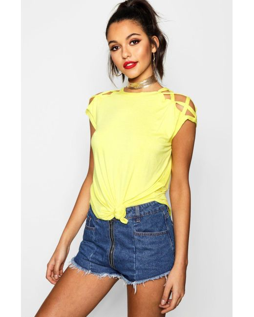 Boohoo - Yellow Strappy Shoulder Detail T-shirt - Lyst
