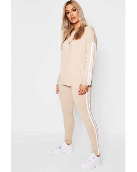 Boohoo - Natural Plus Side Stripe Loungewear Set - Lyst ... 99a35d118