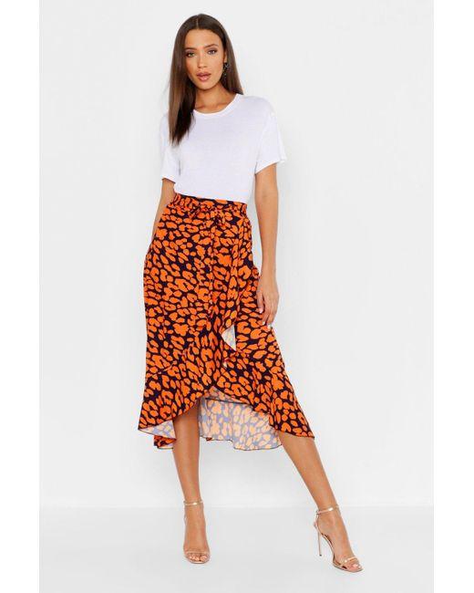 013a8ee5cb9f9c Grande - Jupe midi à volants à imprimé léopard femme de coloris orange