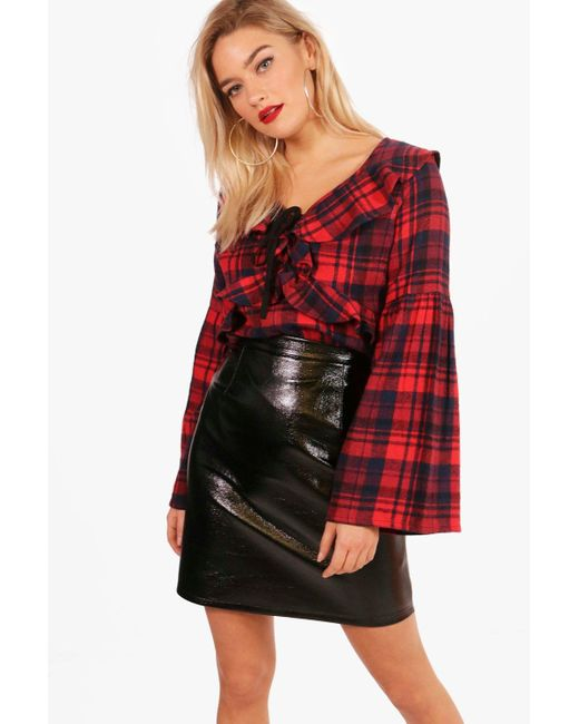 Boohoo - Red Claudia Checked Ruffle Front Blouse - Lyst