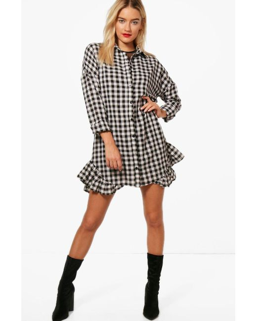 Boohoo - Black Gingham Ruffle Hem Shirt Dress - Lyst