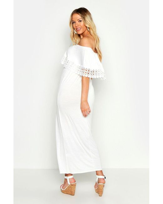 57171c437902 ... Boohoo - White Maternity Bardot Crochet Trim Maxi Dress - Lyst