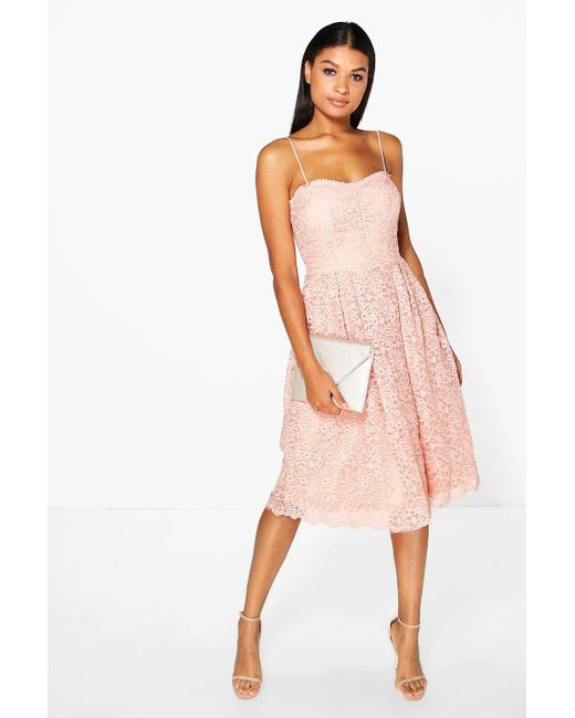 cf10666ee87e Boohoo - Pink Boutique Embroidered Strappy Midi Skater Dress - Lyst ...