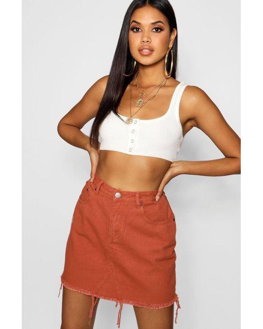 4eebe02cd8 Boohoo - Multicolor Brick Denim Mini Skirt - Lyst ...