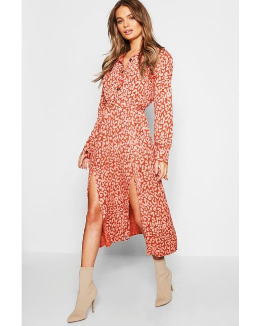 aacdf8cb8471 Boohoo - Natural Leopard Collar Button Through Belted Midi Dress - Lyst ...
