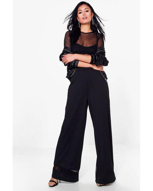 Boohoo | Black Roxie Mesh Insert Wide Leg Trouser | Lyst