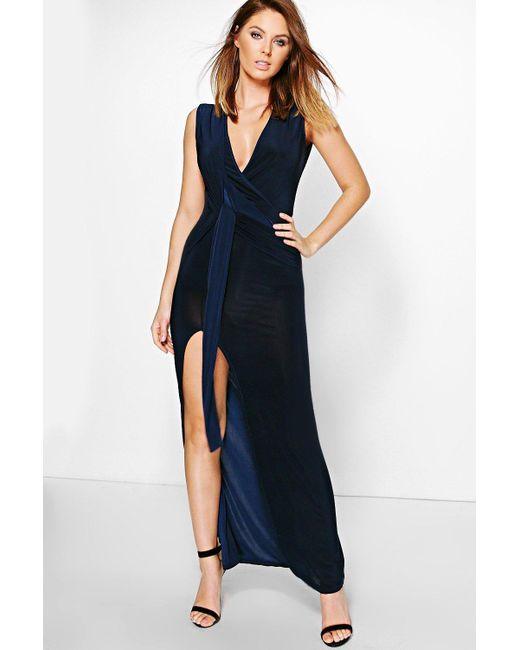 Boohoo   Blue Hana Slinky Plunge Wrap Tie Maxi Dress   Lyst