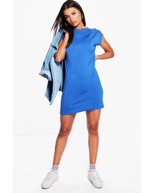 Boohoo   Blue Elvira Cut Out Shoulder Shift Dress   Lyst