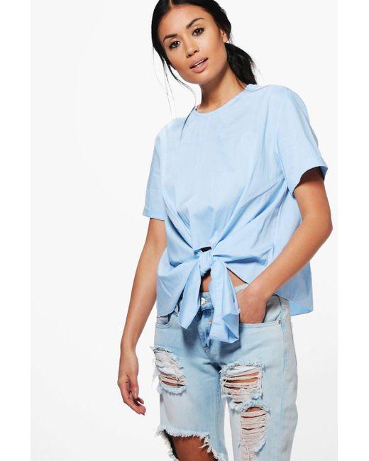 Boohoo | Blue Kayla Knot Tie Front Short Sleeve Woven Shirt | Lyst