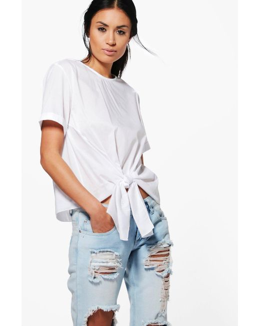 Boohoo   White Kayla Knot Tie Front Short Sleeve Woven Shirt   Lyst