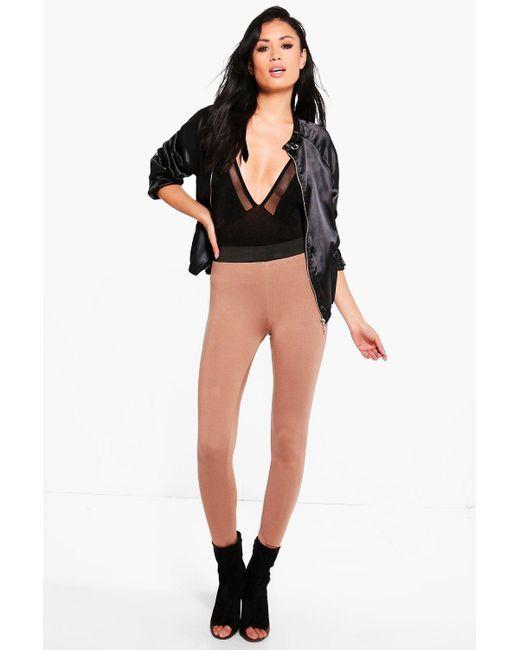 Boohoo | Multicolor Evah Basic Contrast Waist Band Jersey Leggings | Lyst