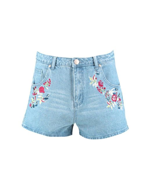 Boohoo fleur floral embroidery denim shorts in blue lyst