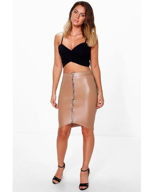boohoo zip front leather look midi skirt lyst