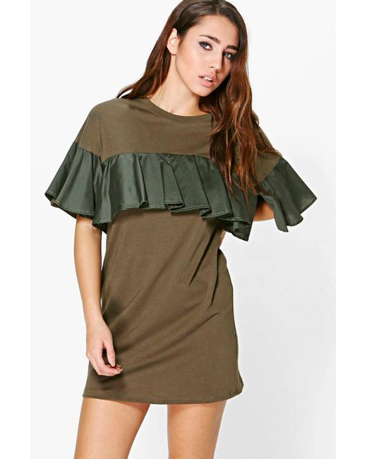 Boohoo | Natural Guinivere Frill Sleeved Shift Dress | Lyst