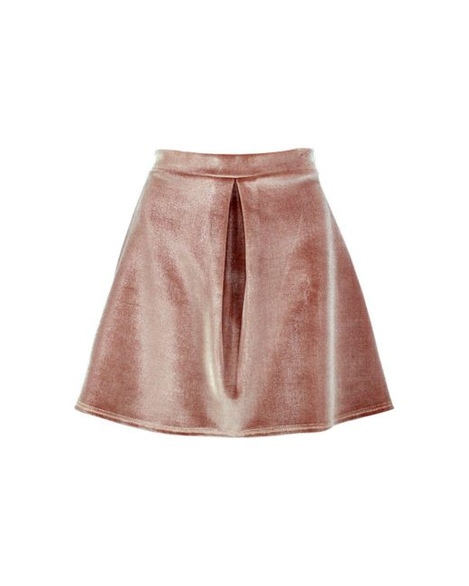 boohoo bonded velvet pleat front a line skirt in