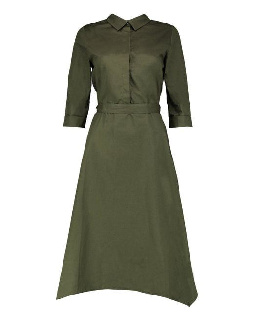 boohoo greta asymmetric hem belted shirt dress in green lyst