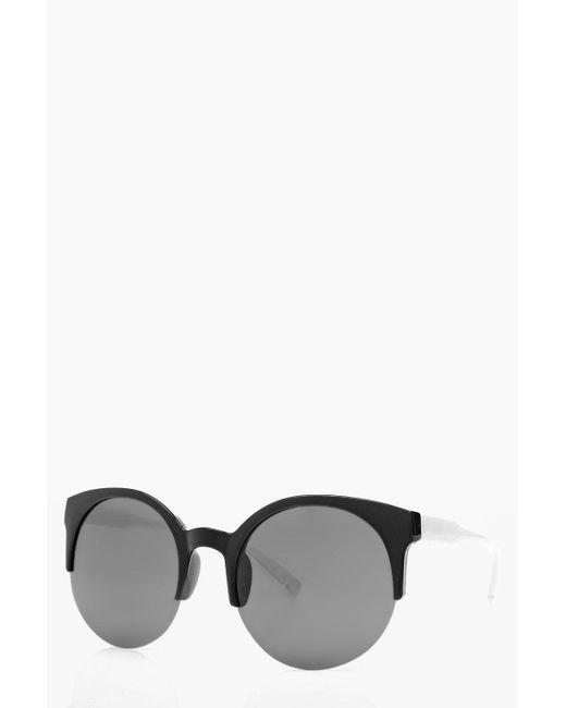 Boohoo Lola Round Half Frame Round Sunglasses in Black Lyst