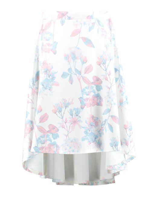 boohoo lola pastel floral dipped hem midi skirt in white