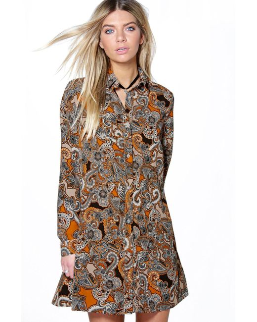 Boohoo Sally Paisley Long Sleeve Shirt Dress In Red