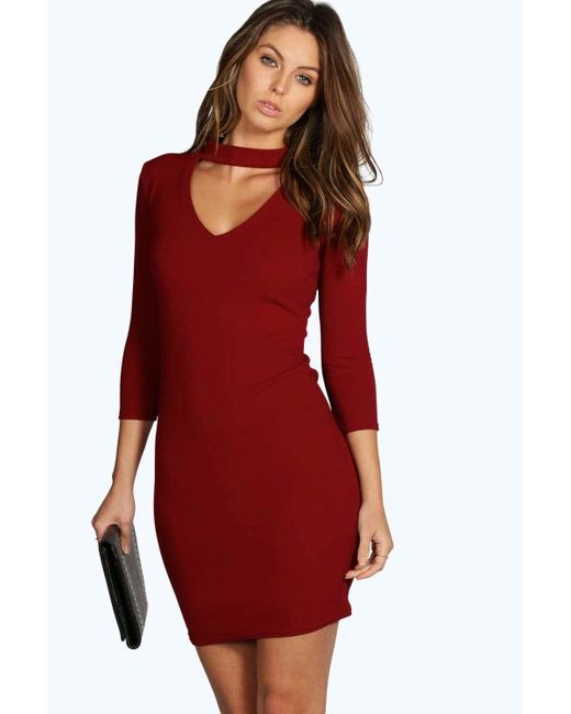 Boohoo | Red Louise V Neck Cut Out 3/4 Sleeve Shift Dress | Lyst