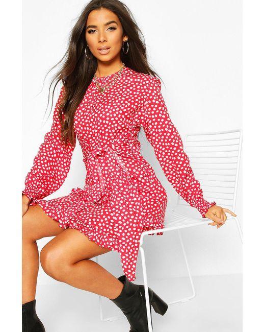 Boohoo Red Woven Polka Dot Double Ruffle Hem Shift Dress